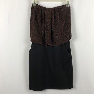 Solemio Strapless copper and black dress size M
